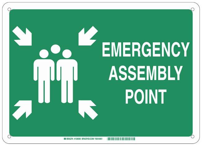 Brady Polystyrene Fire Emergency & Disaster Sign: EMERGENCY ASSEMBLY POINT,