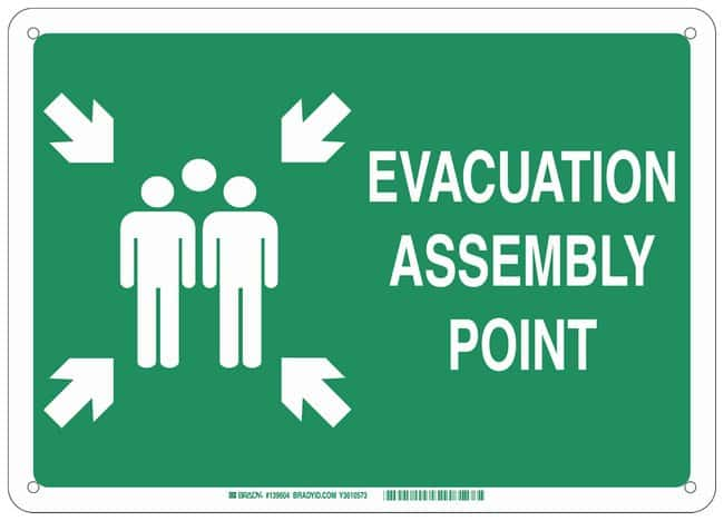 Brady Aluminum Fire Emergency & Disaster Sign: EVACUATION ASSEMBLY POINT,