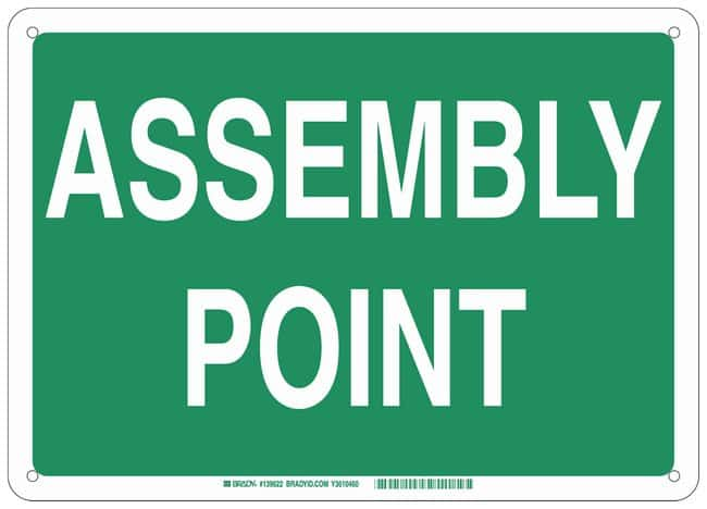 Brady Fiberglass Emergency Sign: ASSEMBLY POINT:Gloves, Glasses and Safety:Facility