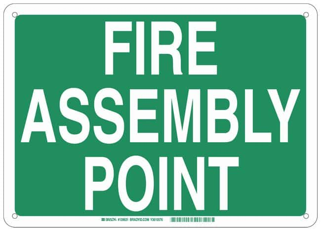Brady Polystyrene Emergency Sign: FIRE ASSEMBLY POINT:Gloves, Glasses and