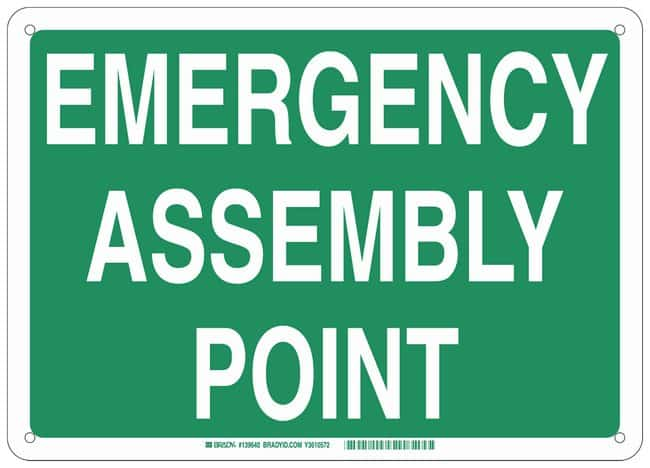 Brady Aluminum Emergency Sign: EMERGENCY ASSEMBLY POINT:Gloves, Glasses
