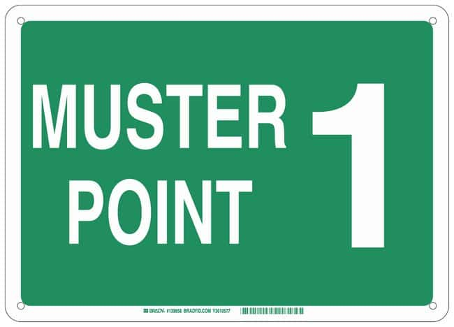 Brady Aluminum Sign: MUSTER POINT 1:Gloves, Glasses and Safety:Facility