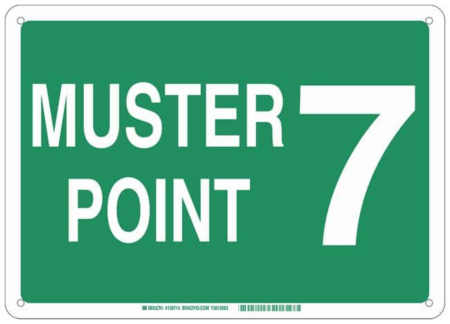 Brady Aluminum Sign: MUSTER POINT 7:Gloves, Glasses and Safety:Facility