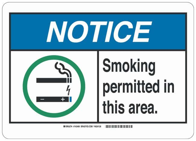 Brady Aluminum Notice Sign: SMOKING PERMITTED IN THIS AREA. Black/blue/green