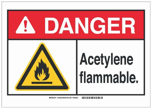 Brady Polyester Adhesive Warning Sign: ACETYLENE. FLAMMABLE. Black/red/yellow