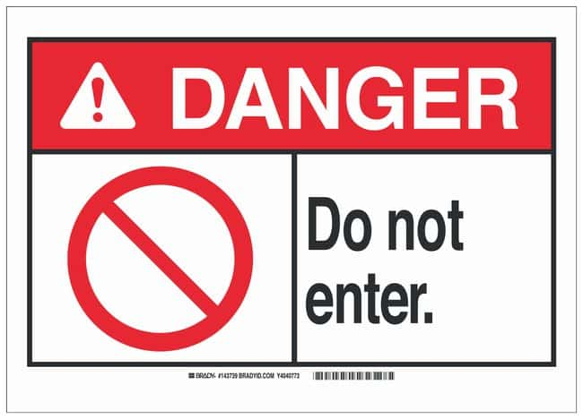 Brady Plastic ANSI Danger Sign: DO NOT ENTER.:Gloves, Glasses and Safety:Facility