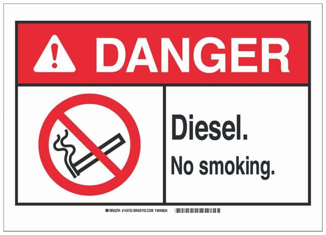 Brady Aluminum Danger Sign: DIESEL. NO SMOKING.:Gloves, Glasses and Safety:Facility