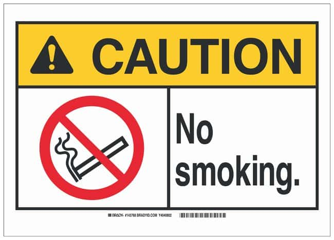 Brady Polystyrene ANSI Caution Sign: NO SMOKING. Black/red/yellow on white;