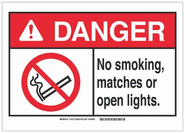 Brady Polyester Adhesive No Smoking Sign: NO SMOKING, MATCHES OR OPEN LIGHTS.:Gloves,