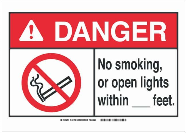 Brady Polyester Adhesive No Smoking Sign: NO SMOKING, OR OPEN LIGHTS WITHIN___FEET.:Gloves,