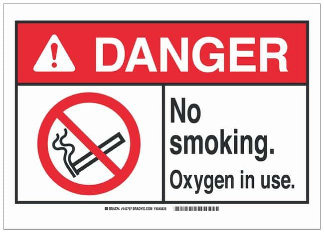 Brady Polyester Adhesive No Smoking Sign: NO SMOKING. OXYGEN IN USE.:Gloves,