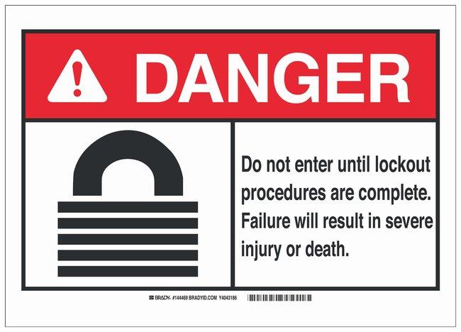 Brady Aluminum ANSI Danger Sign: DO NOT ENTER UNTIL LOCKOUT PROCEDURES