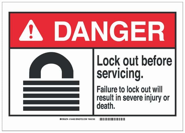Brady Polyester Adhesive Lockout Tagout Sign: LOCK OUT BEFORE SERVICING.
