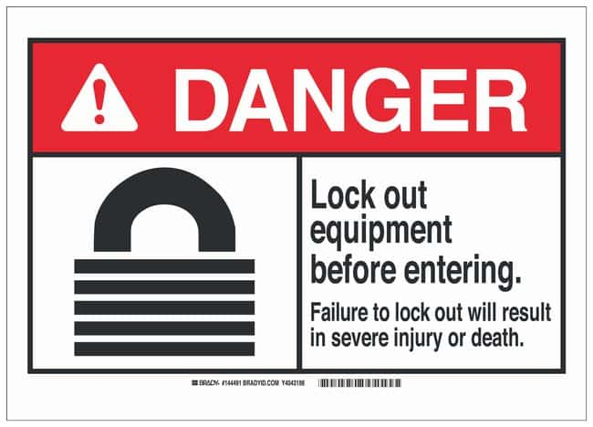 Brady Polystyrene ANSI Danger Sign: LOCK OUT EQUIPMENT BEFORE ENTERING.