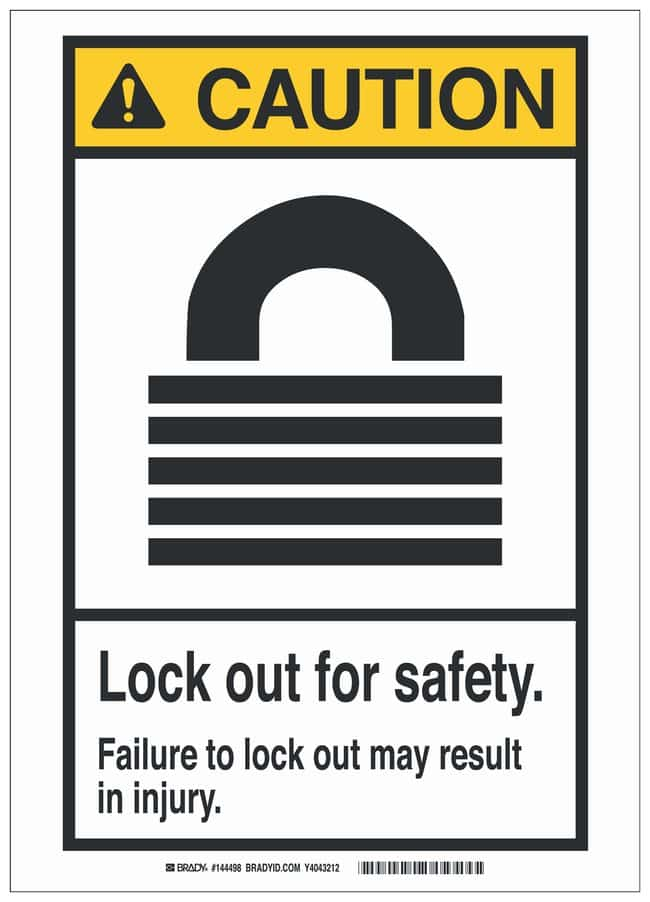 Brady Polyester Adhesive Lockout Tagout Sign: LOCK OUT FOR SAFETY. FAILURE