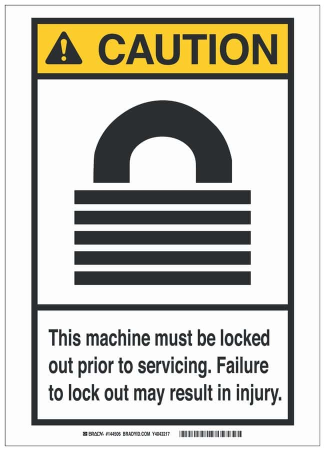 Brady Polyester Adhesive Lockout Tagout Sign: THIS MACHINE...MAY RESULT