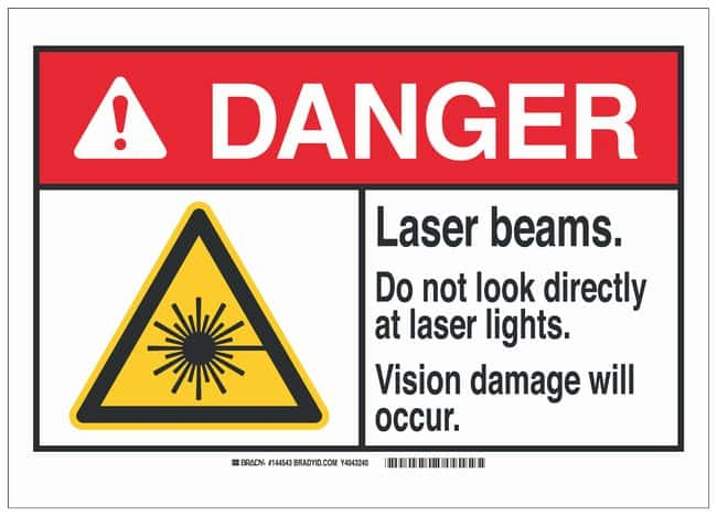 Brady Polyester Adhesive Danger Sign: LASER BEAMS. DO NOT LOOK DIRECTLY