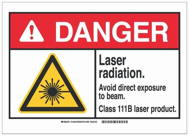 Brady Polystyrene ANSI Danger Sign: LASER RADIATION. AVOID DIRECT EXPOSURE
