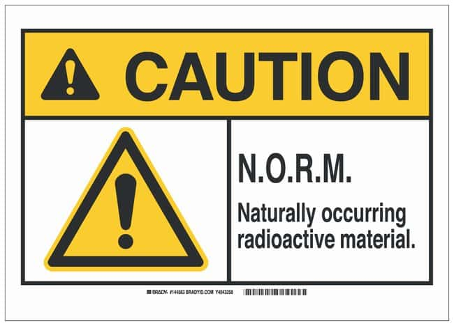 Brady Polystyrene ANSI Caution Sign: N.O.R.M. NATURALLY OCCURRING RADIOACTIVE