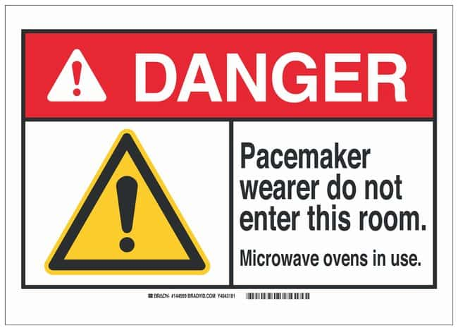 Brady Polyester Adhesive ANSI Danger Sign: PACEMAKER WEARER DO NOT ENTER