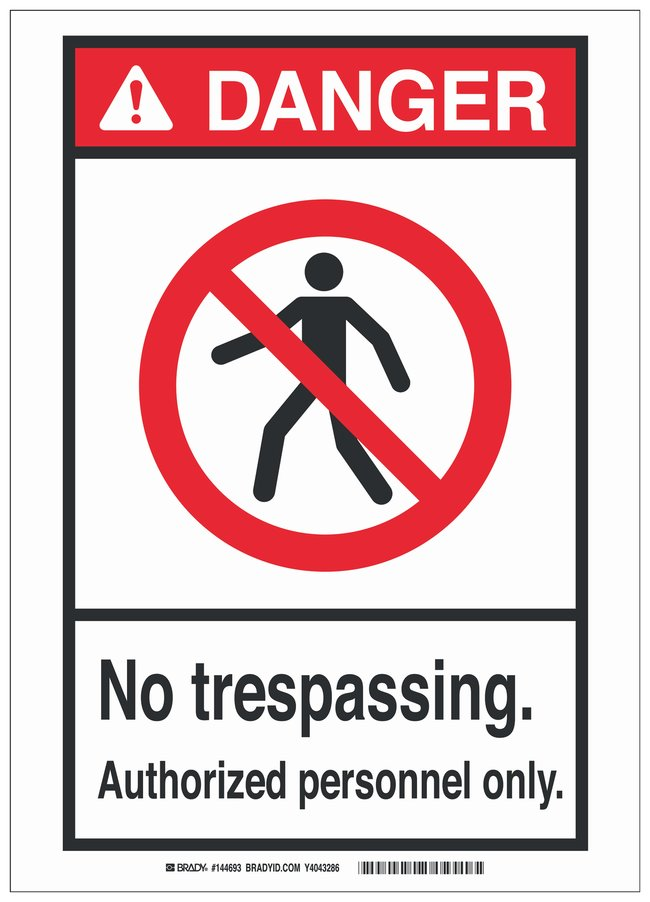 Brady Aluminum ANSI Danger Sign: NO TRESPASSING. AUTHORIZED PERSONNEL ONLY.