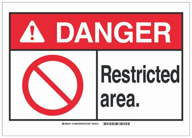 Brady Plastic ANSI Danger Sign: RESTRICTED AREA.:Gloves, Glasses and Safety:Facility