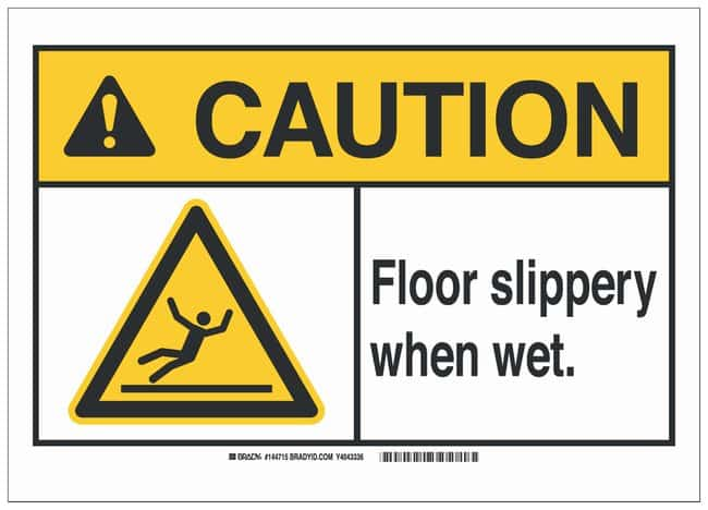 Brady Aluminum ANSI Sign: FLOOR SLIPPERY WHEN WET:Gloves, Glasses and Safety:Facility