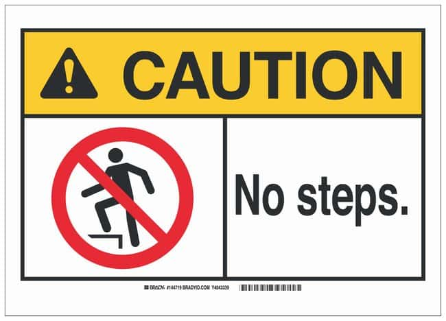 Brady ANSI Sign: NO STEPS:Gloves, Glasses and Safety:Facility Maintenance