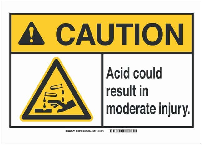 Brady Polyester Caution Sign: ACID. COULD RESULT IN MODERATE INJURY. Black/yellow