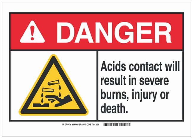 Brady Polystyrene Danger Sign: ACIDS. CONTACT WILL RESULT IN SEVERE BURNS,