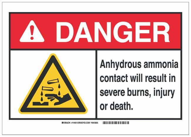 Brady Polyester Danger Sign: ANHYDROUS AMMONIA. CONTACT WILL RESULT IN