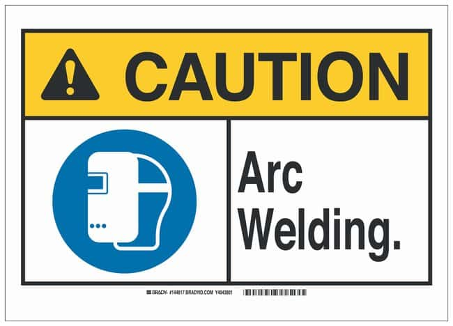 Brady Aluminum Caution Sign: ARC WELDING Black/blue/yellow on white; 14