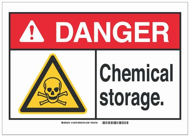 Brady Fiberglass Danger Sign: CHEMICAL STORAGE, black, red and yellow:Gloves,