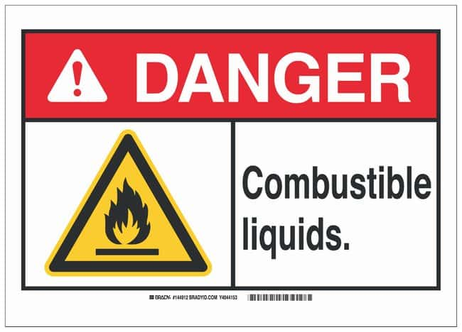 Brady Polystyrene Warning Sign: COMBUSTIBLE LIQUIDS.:Gloves, Glasses and