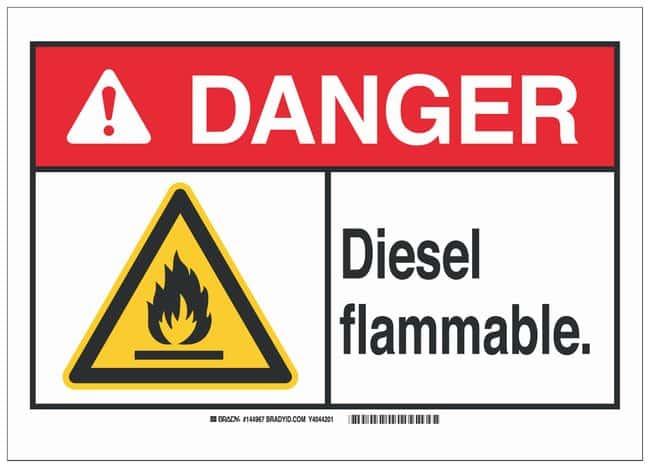 Brady Polyester Adhesive Warning Sign: DIESEL. FLAMMABLE. Black/red/yellow
