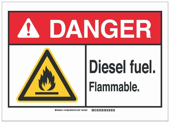 Brady Polystyrene Warning Sign: DIESEL FUEL. FLAMMABLE.:Gloves, Glasses