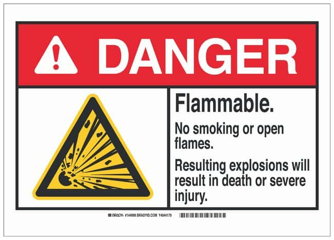 Brady Polyester Adhesive Warning Sign: FLAMMABLE…RESULT IN DEATH OR SEVERE