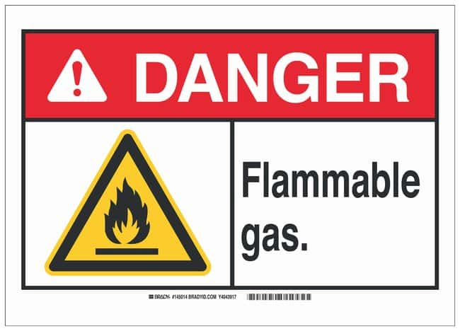 Brady Fiberglass Warning Sign: FLAMMABLE GAS. Black/red on white; 14 in.
