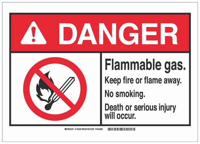 Brady Aluminum Warning Sign: FLAMMABLE GAS. KEEP FIRE OR FLAME AWAY. NO