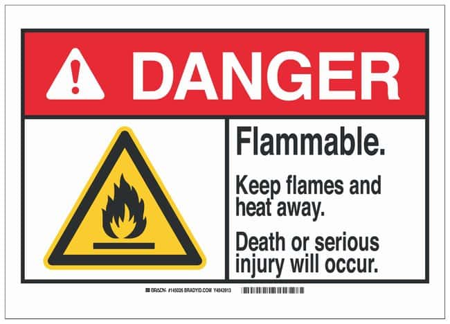 Brady Aluminum Danger Sign: FLAMMABLE. KEEP FLAMES AND HEAT AWAY. DEATH