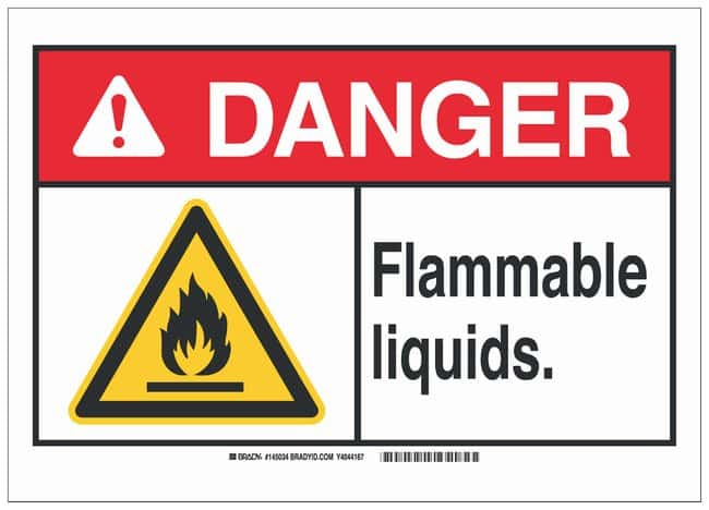 Brady Aluminum Danger Sign: FLAMMABLE LIQUIDS. Black/red/yellow on white;