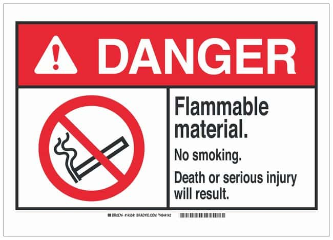 Brady Aluminum Danger Sign: FLAMMABLE MATERIAL. NO SMOKING. DEATH OR SERIOUS