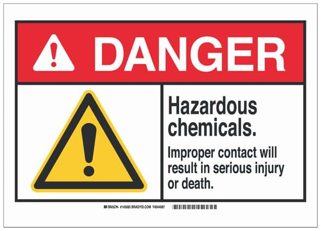 Brady Polystyrene Danger Sign: HAZARDOUS CHEMICALS. IMPROPER CONTACT WILL