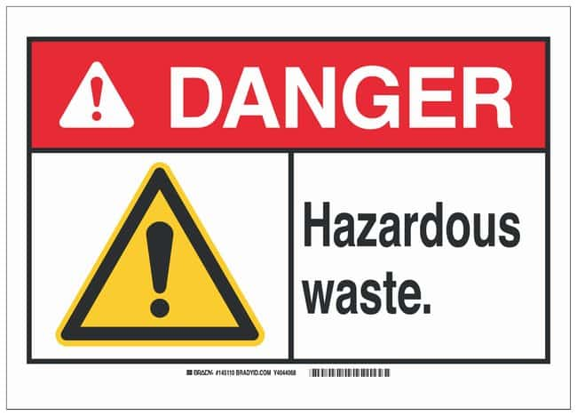 Brady Polyester Adhesive Warning Sign: HAZARDOUS WASTE. Black/red/yellow