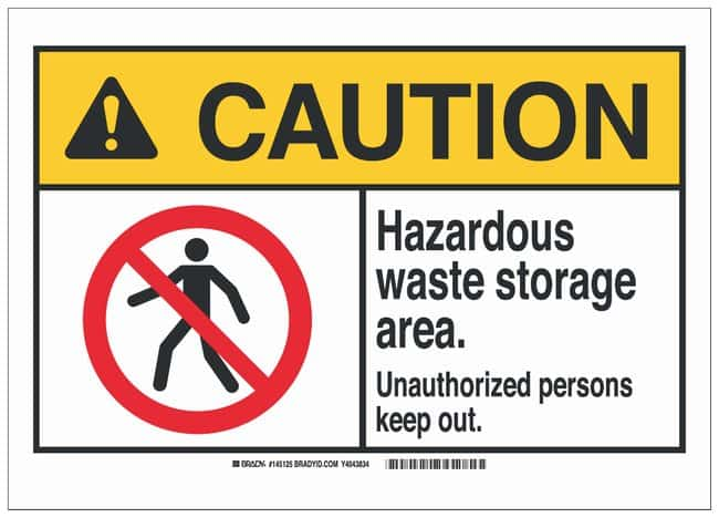 Brady Polyester Adhesive Warning Sign: HAZARDOUS WASTE STORAGE AREA. UNAUTHORIZED