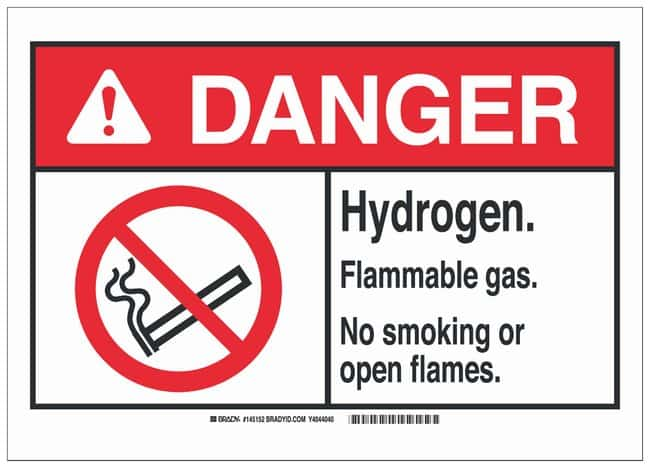 Brady Polyester Adhesive Warning Sign: HYDROGEN. FLAMMABLE GAS. NO SMOKING