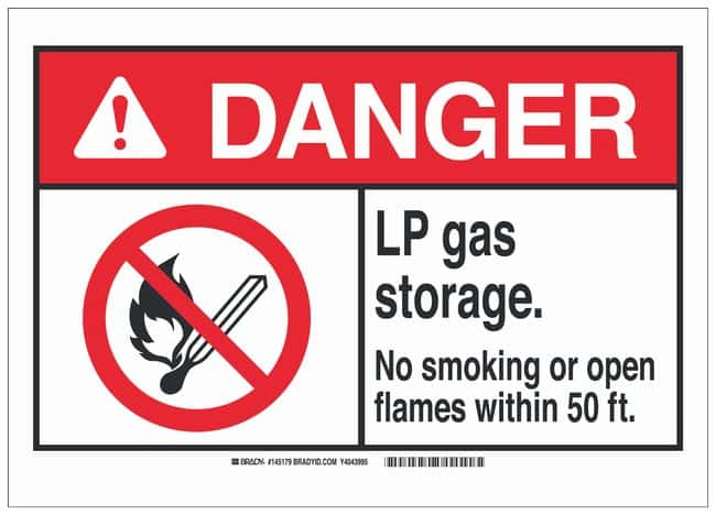 Brady Polystyrene Warning Sign: LP GAS STORAGE. NO SMOKING OR OPEN FLAMES