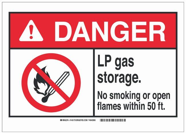 Brady Polyester Adhesive Warning Sign: LP GAS STORAGE. NO SMOKING OR OPEN