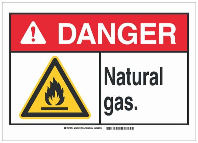 Brady Polyester Adhesive Warning Sign: NATURAL GAS. Black/red/yellow on