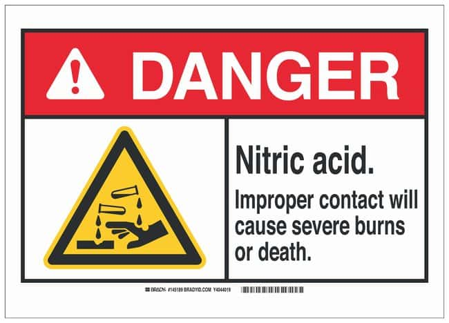 Brady Polyester Danger Sign: NITRIC ACID. IMPROPER CONTACT WILL CAUSE SEVERE
